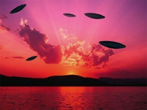 ufos in red sky